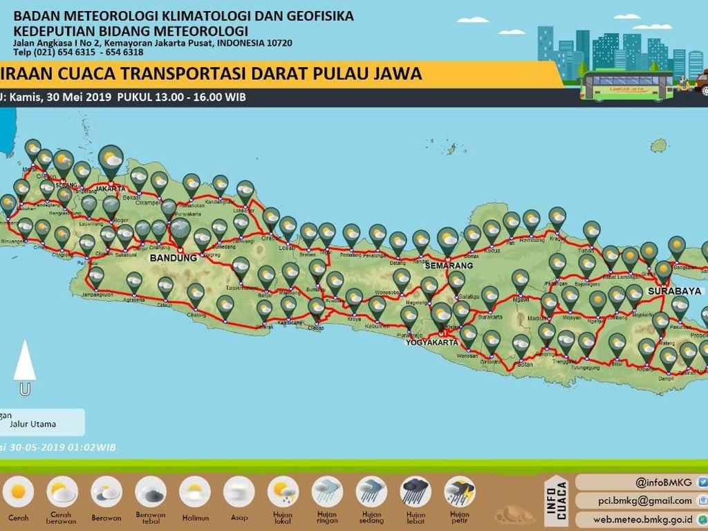 Prediksi BMKG: Cuaca Jalur Mudik di Jawa Mayoritas Cerah Berawan