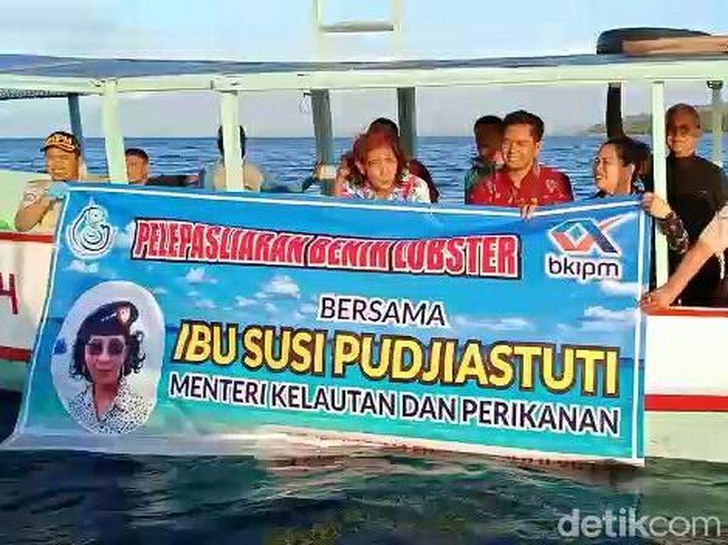 Menteri Susi Pudjiastuti Lepasliarkan Baby Lobster Sitaan Polda Jatim