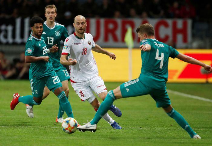 Jerman bertanding melawan Belarusia dalam Kualifikasi Piala Eropa 2020 di Borisov Arena, Minggu (9/6/2019).