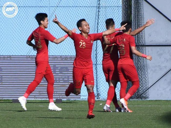 Pemain Timnas Indonesia U-23 setelah menghajar Filipina di Merlion Cup 2019. (Foto: dok.PSSI)