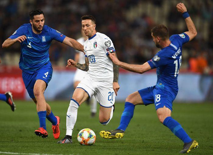 Italia bertemu dengan Yunani dalam pertandingan Kualifikasi Piala Eropa 2020 yang digelar di Athens Olympic Stadium, Minggu (9/6/2019).
