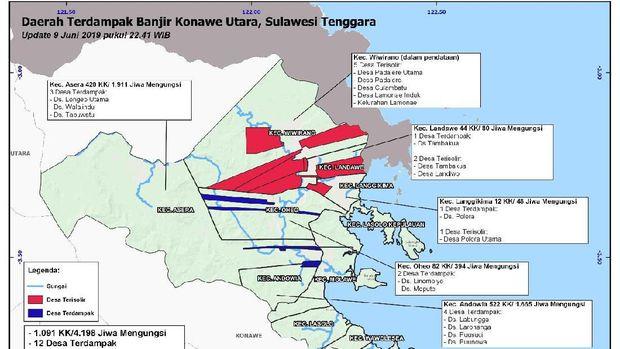 Grafis sebaran wilayah di Sulawesi yang terdampak banjir.