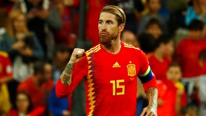 Sergio Ramos terus mencetak gol untuk timnas Spanyol. (Foto: Juan Medina / Reuters)