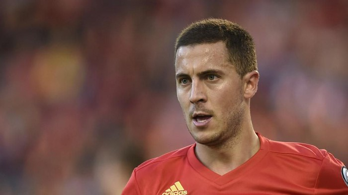 Belgiums midfielder Eden Hazard looks on during the UEFA Euro 2020 qualification football match between Belgium and Kazakhstan at the King Baudouin Stadium in Brussels on June 8, 2019. (Photo by JOHN THYS / AFP)