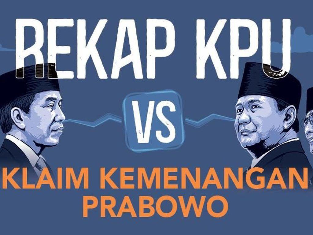 Hasil Rekap KPU vs Klaim Kemenangan Prabowo