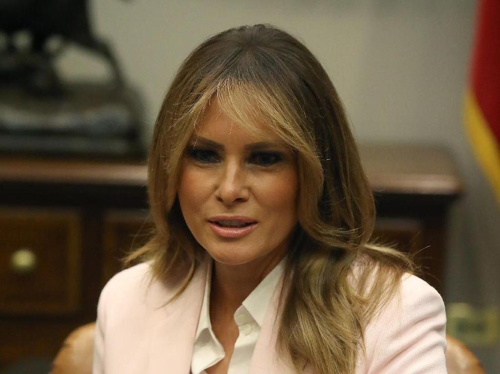Melania Trump Disoraki Saat Pidato Soal Narkoba