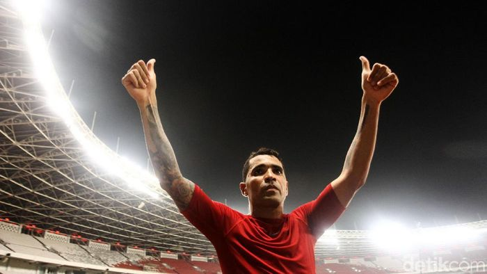 Pemain Timnas Indonesia, Alberto Goncalves, mencetak 4 gol saat skuat Garuda menaklukkan Vanuatu 6-0. (Foto: Rifkianto Nugroho/Detikcom)