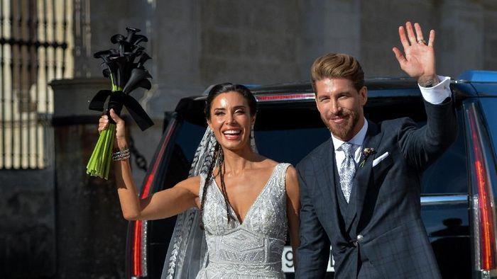 Sergio Ramos dan Pilar Rubio menggelar resepsi pernikahan di Sevilla. (Aitor Alcalde/Getty Images)
