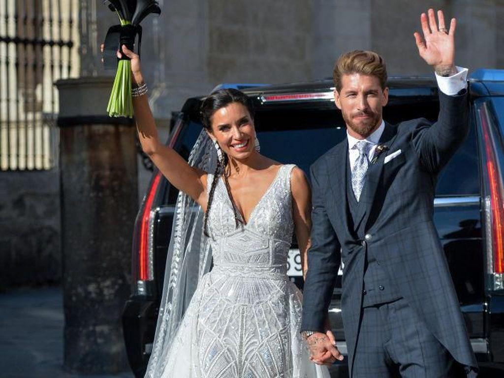 Menikah, Istri Sergio Ramos Pakai Gaun Rancangan Desainer Lebanon