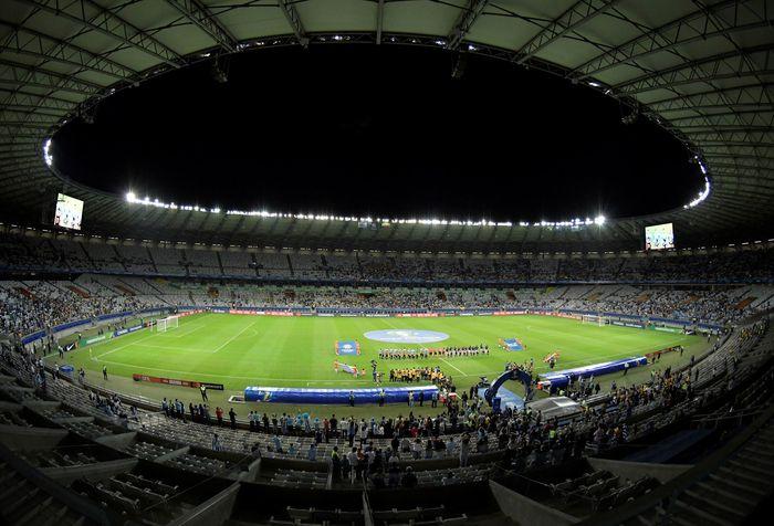 Pertandingan antara Uruguay melawan Ekuador digelar di Estadio Mineirao, Senin (17/6/2019) pagi WIB. Washington Alves/Reuters.