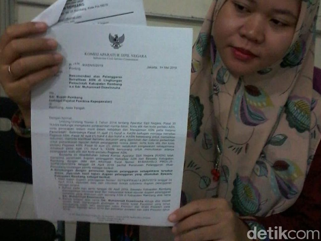 Langgar Netralitas Pemilu, Oknum Sekdes di Rembang Dijatuhi Sanksi