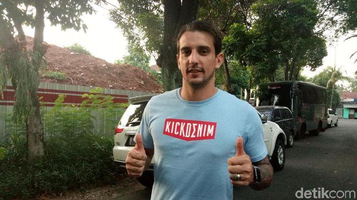 Flavio Beck bertekad lanjutkan momentum positif di laga lawan PSS Sleman. (Foto: Amalia Dwi Septi/detikSport)