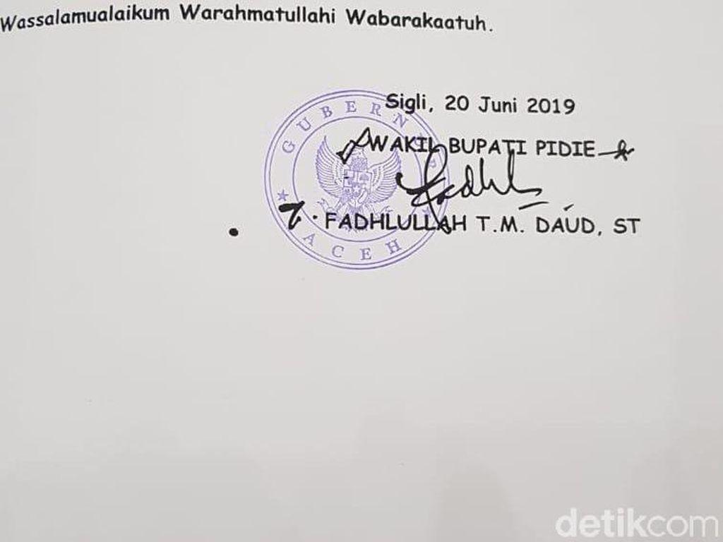 Stempel Gubernur Aceh yang Tertera di LKPJ Wabup Pidie Diduga Palsu