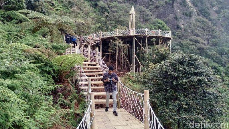 Skywalk Cantigi dibangun sepanjang 500 meter di Kawah Putih. Skywalk ini dibangun dari bambu (Wisma Putra/detikcom)