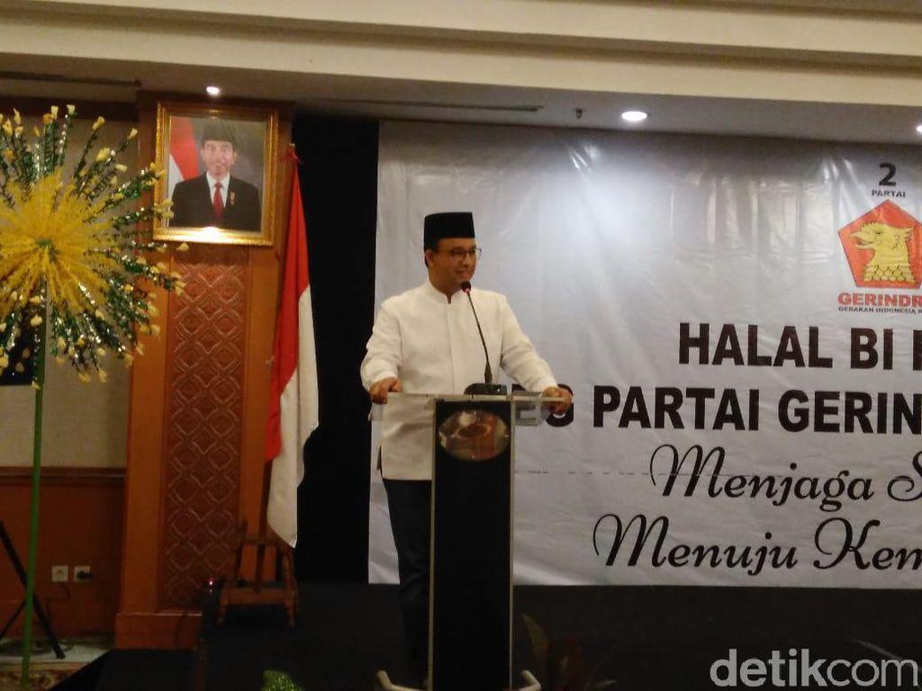 Halalbihalal Caleg Gerindra DKI, Anies Ingatkan Jangan Ganti Partai