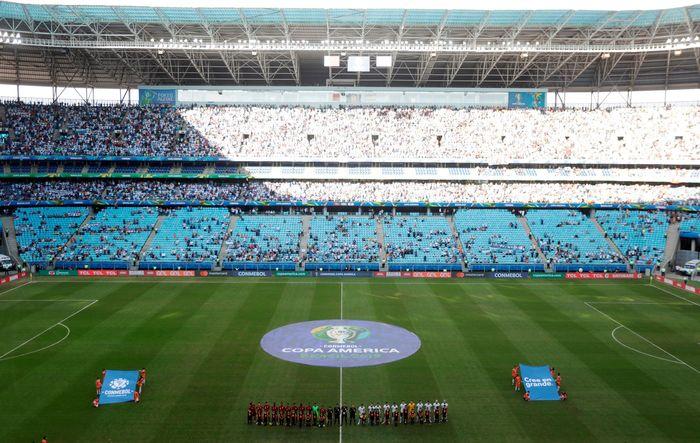 Pertandingan antara Argentina vs Qatar digelar di Arena do Gremio, Senin (24/6/2019) dinihari WIB. Ueslei Marcelino/Reuters.