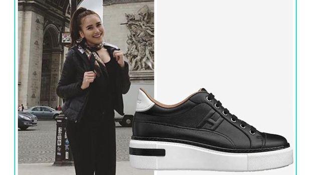 Ayu Ting Ting pakai sneakers merek Hermes