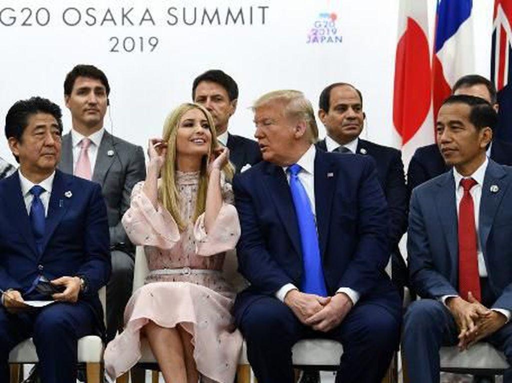 Jokowi Foto Bareng Ivanka Trump di KTT G20, Netizen: Awas Dimarahi Iriana