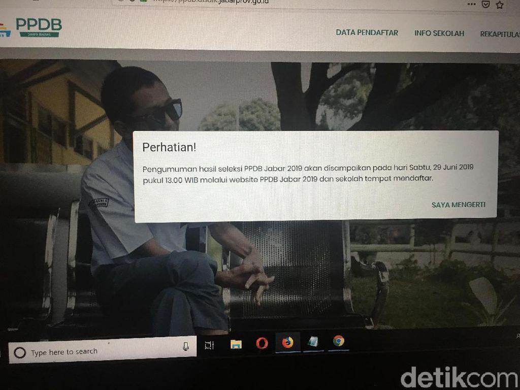 Lewat Pukul 13.00 WIB, Situs PPDB Jabar Belum Tampilkan Pengumuman SMA
