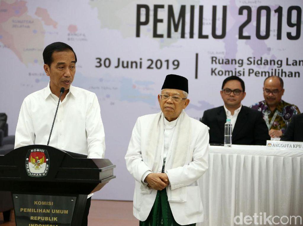 Jokowi-Maruf Amin Hadiri Pembubaran TKN