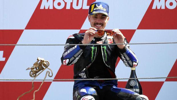 Maverick Vinales saat meraih podium di MotoGP Belanda 2019. (