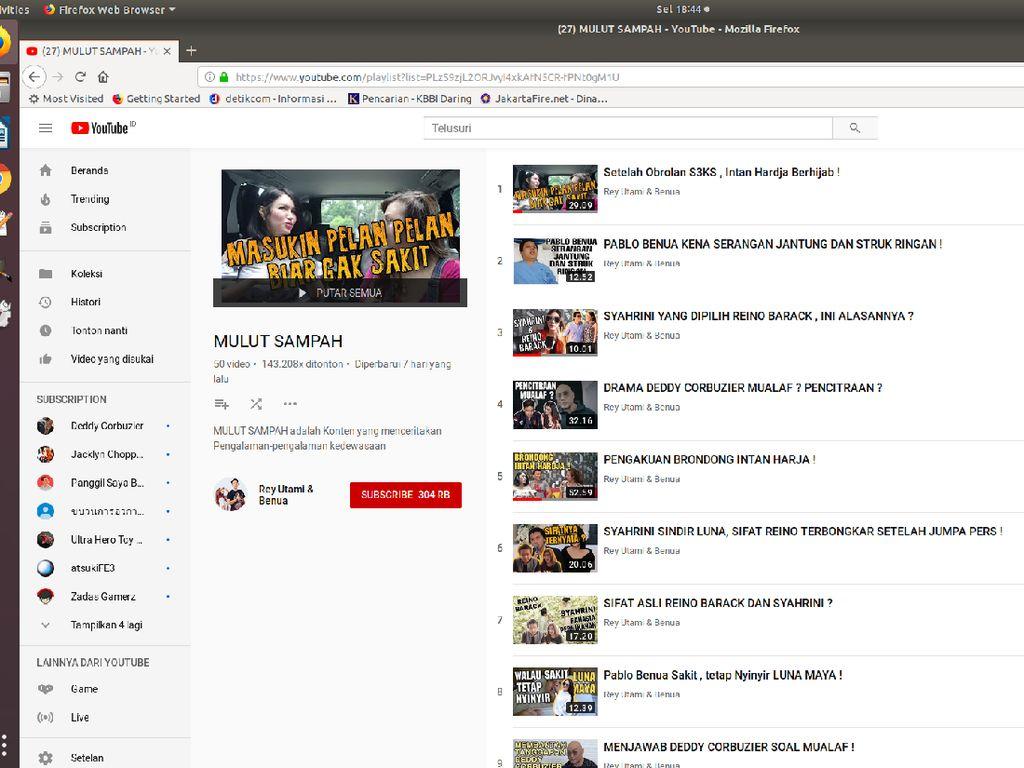 Diusut Polisi, Konten Mulut Sampah Hilang dari YouTube Rey Utami-Benua