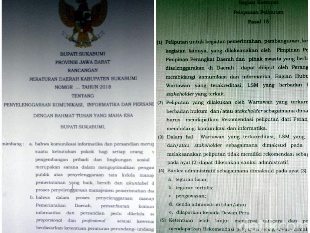 Raperda KIP Sukabumi, Wartawan Meliput Tanpa Izin Diskominfo Kena Sanksi