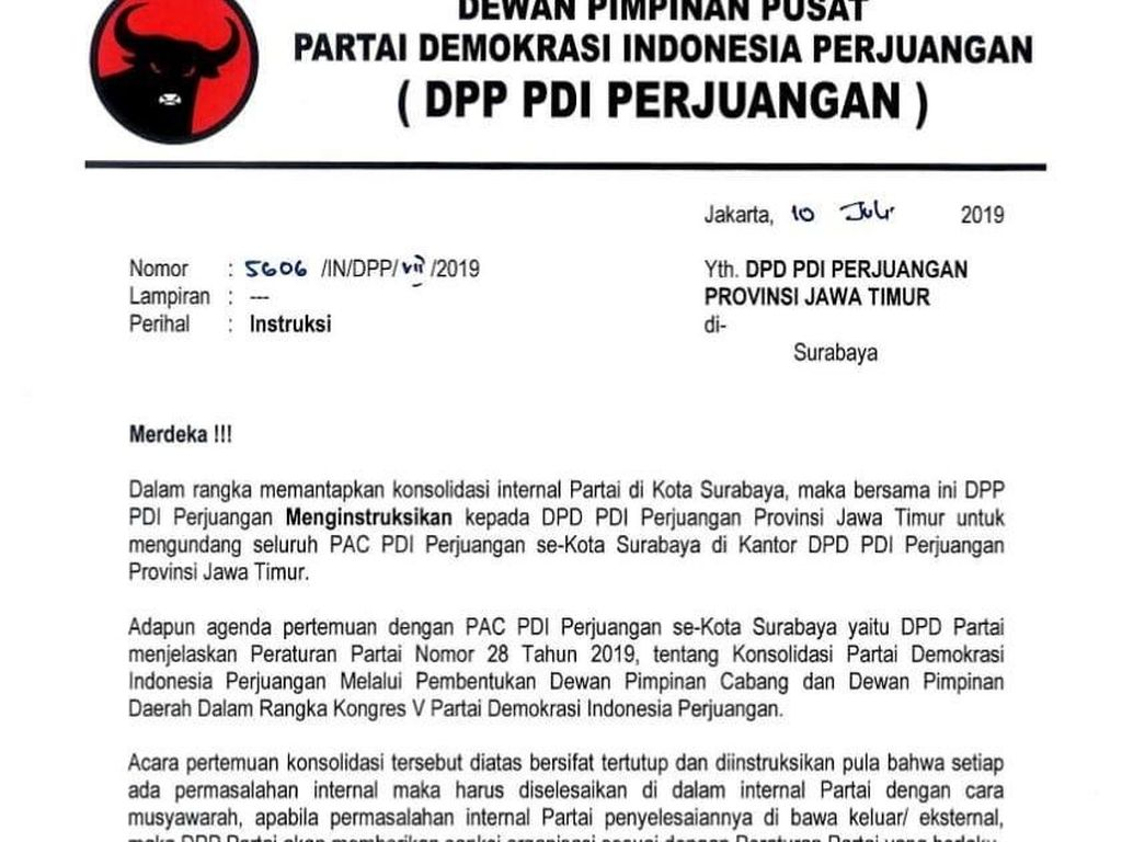 Polemik Konfercab Surabaya, DPP PDIP Keluarkan Surat Instruksi