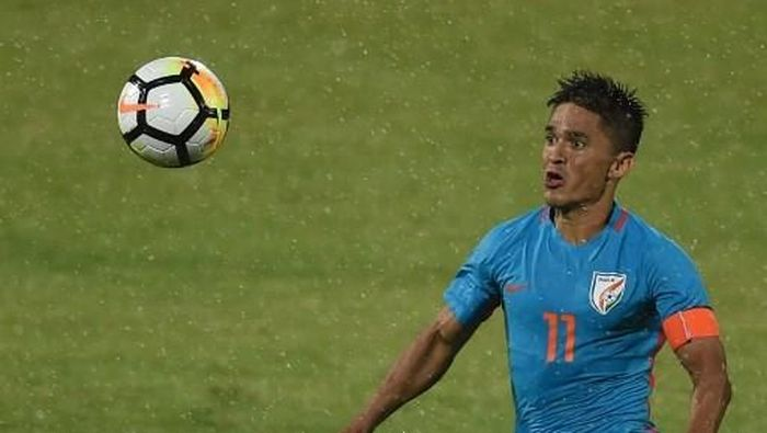 Striker Timnas India Sunil Chhetri. (Foto: PUNIT PARANJPE / AFP)