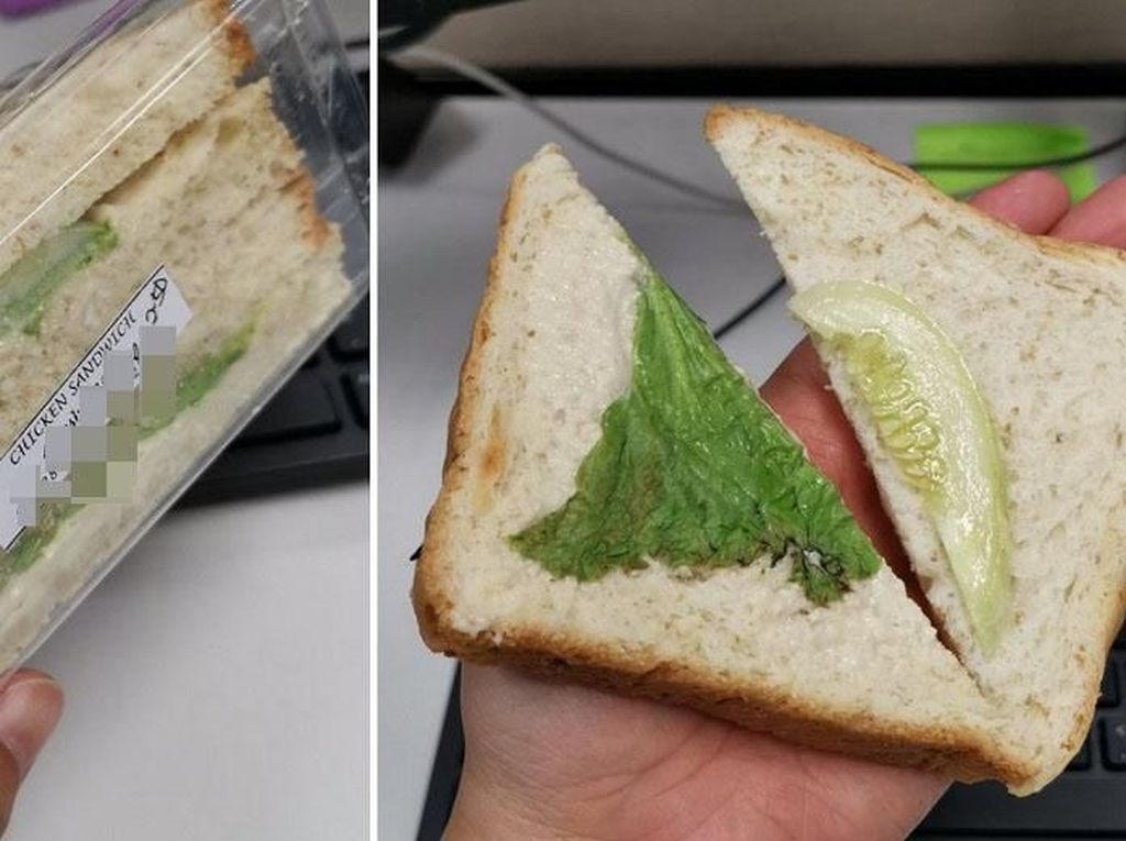 Wanita Ini Kecewa Beli Sandwich Ayam Isinya Sehelai Selada dan Seiris Mentimun