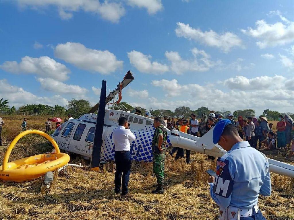 Helikopter Jatuh di Dekat Bandara Lombok Angkut 3 Orang Bule