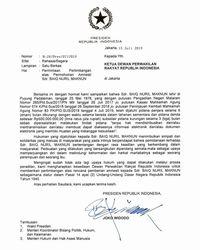 Surat Presiden Jokowi ke Ketua DPR soal pemberian amnesti kepad Baiq Nuril Maknun.