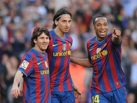 Lionel Messi bersama Zlatan Ibrahimovic dan Thierry Henry