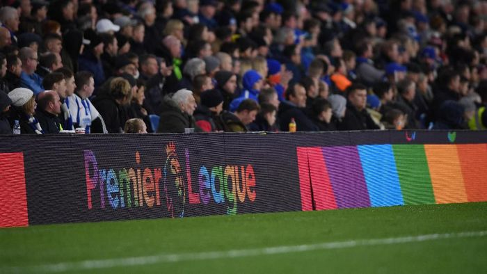 BRIGHTON, ENGLAND - DECEMBER 04: The Premier League logo appears in rainbow colours in support of  the LGBT community during the Premier League match between Brighton & Hove Albion and Crystal Palace at American Express Community Stadium on December 04, 2018 in Brighton, United Kingdom. (Photo by Mike Hewitt/Getty Images)
