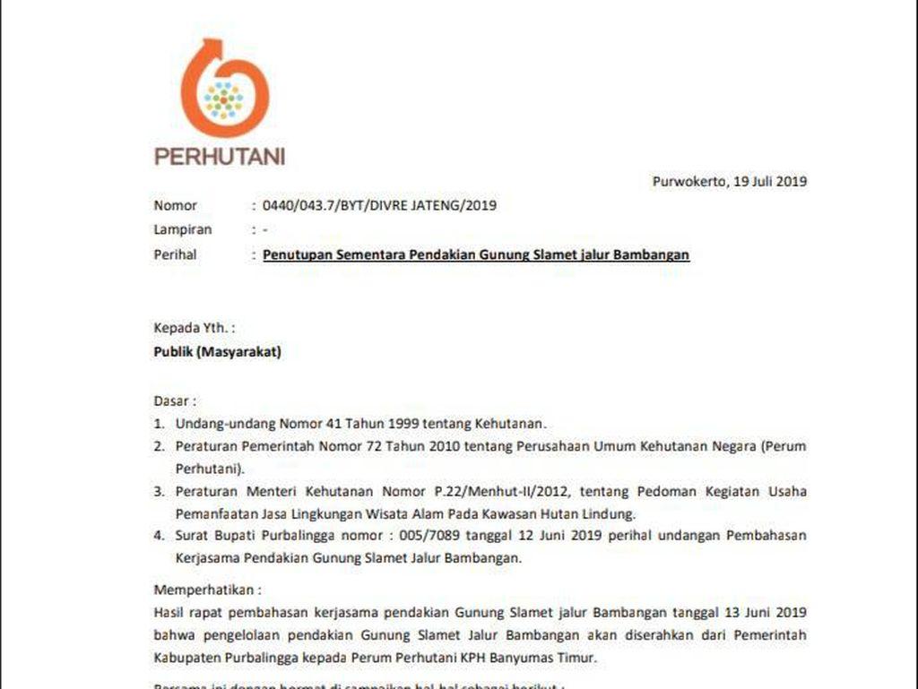 Jalur Pendakian Gunung Slamet Via Bambangan Ditutup Mulai 22 Juli