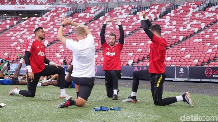 Manchester Unted berlatih jelang berlaga di International Champions Cup 2019. (Foto: Rifqi Ardita Widianto/detikSport)
