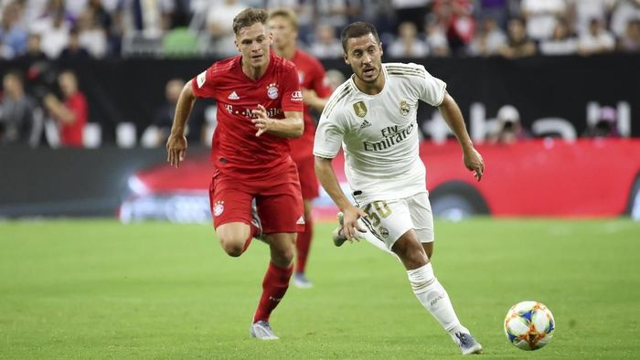 Eden Hazard menggunakan nomor 50 di laga Real Madrid vs Bayern Munich. (Foto: Kevin Jairaj-USA TODAY Sports)