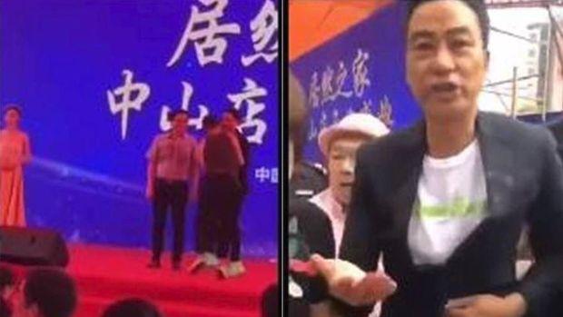 Tersebar foto Simon Yam saat ditusuk di atas panggung