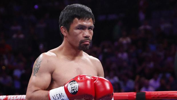 Manny Pacquiao prepares to fight Keith Thurman in a welterweight title fight Saturday, July 20, 2019, in Las Vegas. (AP Photo/John Locher)