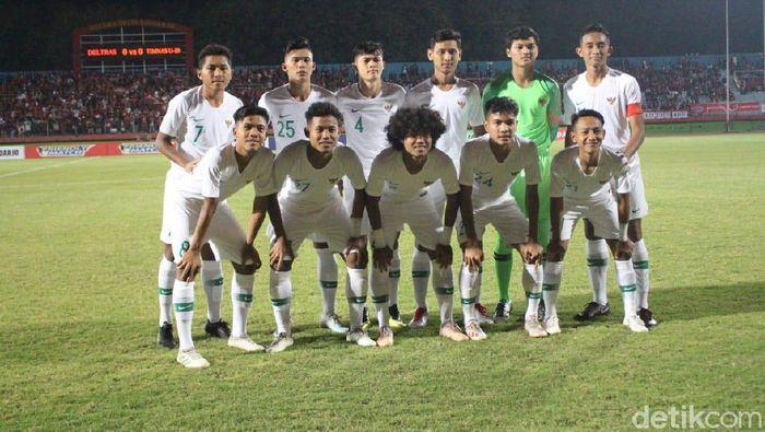 Timnas Indonesia U-19 melawan Timor Leste di Kualifikasi Piala Dunia U-19 2020. (Foto: Suparno/detikSport)