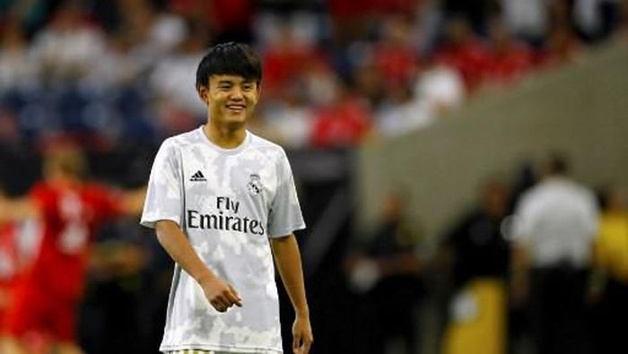 Real Madrid midfielder Takefusa Kubo smiles prior to the International Champions Cup match against Bayern Munich on July 20, 2019 at NRG Stadium in Houston, Texas. (Photo by AARON M. SPRECHER / AFP)