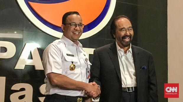 Surya Paloh juga melakukan pertemuan dengan Gubernur DKI Jakarta Anies Baswedan di kantor DPP NasDem, Jakarta, Rabu (24/7).