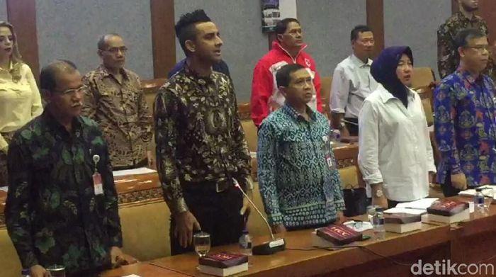 Otavio Dutra melakukan kunjungan ke Komisi X DPR RI. (Foto: Amalia Dwi Septi/detikSport)