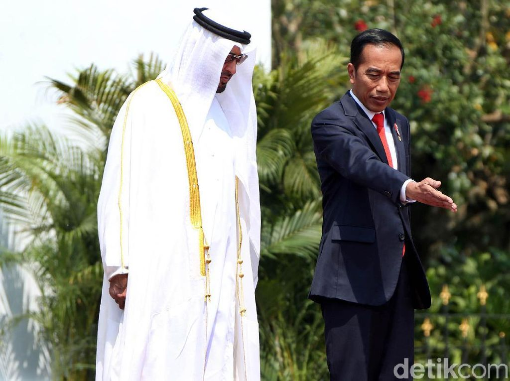 Sambut Putra Mahkota Abu Dhabi, Jokowi Tanam Pohon Bareng
