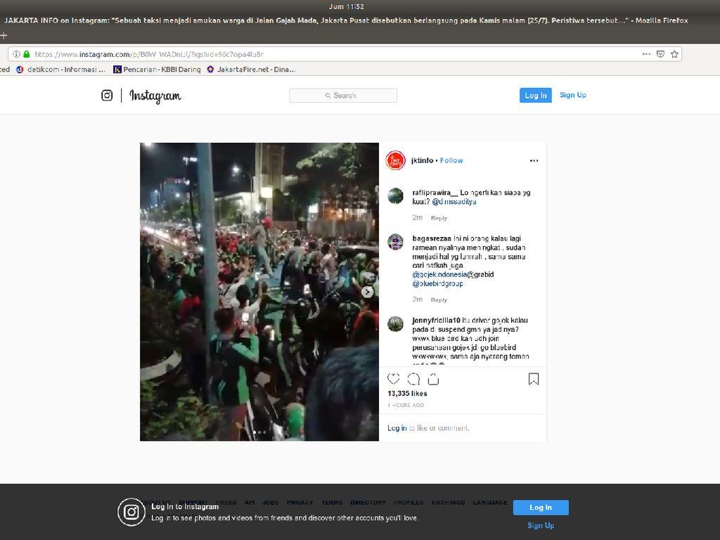 Diduga Tabrak Lari, Taksi Diamuk Massa Ojek Online di Gajah Mada Semalam