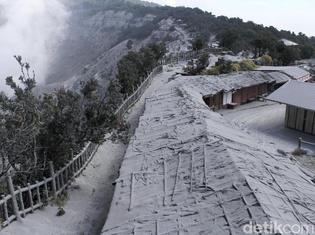 Abu Vulkanik Selimuti Jalan Hingga Bangunan di Tangkuban Perahu