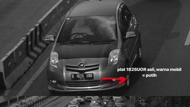 Mobil pelaku yang menyalahgunakan pelat nomor Radityo Utomo.