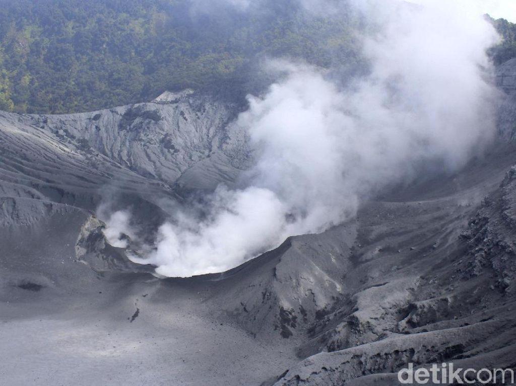 Abu Vulkanik Selimuti Zona Wisata Kawah Tangkuban Perahu