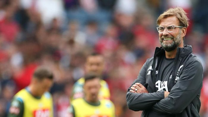 EDINBURGH, SCOTLAND - JULY 28: Jurgen Klopp, Manager of Liverpool looks on prior to the Pre-Season Friendly match between Liverpool FC and SSC Napoli at Murrayfield on July 28, 2019 in Edinburgh, Scotland. (Photo by Ian MacNicol/Getty Images)