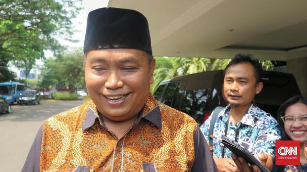 Wakil Ketua umum Gerindra Arief Poyuono bertemu dengan Kepala Staf Kepresidenan Moeldoko di Kantor Staf Presiden, Kompleks Istana Kepresidenan Jakarta, Kamis (1/8).